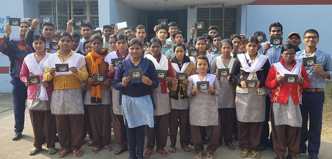 Students at Bankura with Christmas Blessing cards