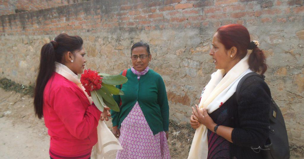 Rita Thapa (TLM Nepal), Guniti (SHG member), Pradipa (TLMNepal)