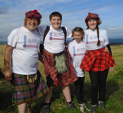 Walkers wearing The Leprosy Mission Scotland T-shirts